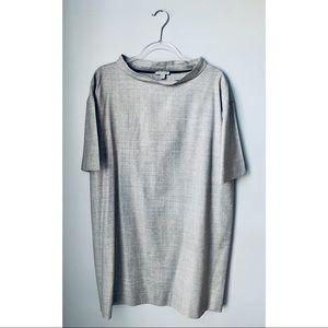 COS boxy mock neck wool grey shift dress large 12